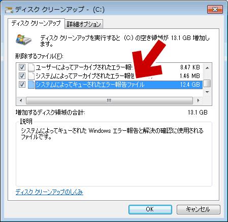 「システムによってキューされたエラー報告ファイル」は12.4GB