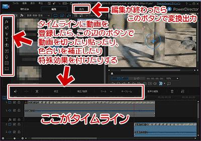 PowerDirector14の編集中に使うボタン