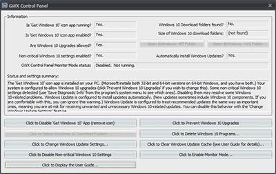 GWX Control Panelの起動時の画面