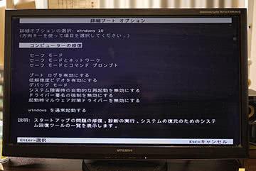 Windows10で詳細ブートオプションが起動した画面