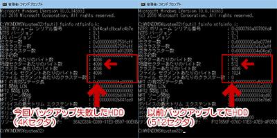 Windows7では4K NativeのHDD にはバックアップできない