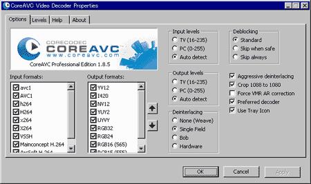 CoreAVC詳細設定画面