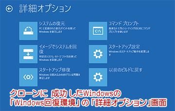 Windows回復環境(トラブルシューティング)画面