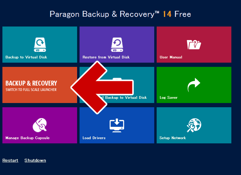Paragon Backup & Recoveryを起動