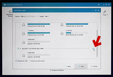 EaseUS Todo Backup のクローン時のパーティションサイズの変更