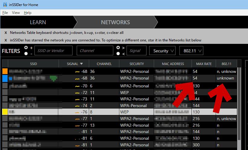 inSSIDer 3で確認した場合