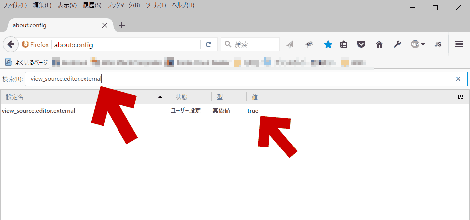検索欄に「view_source.editor.external」と入力