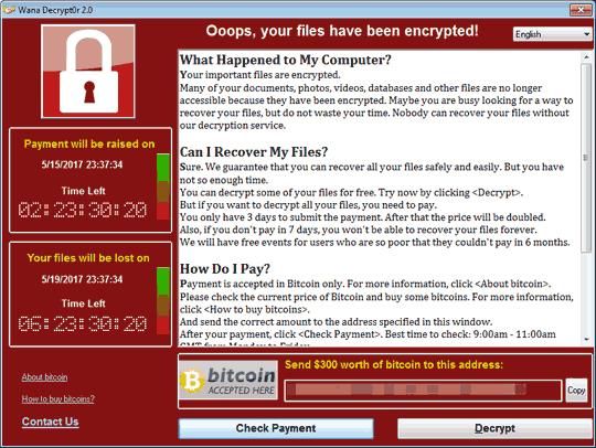 WannaCry の脅迫画面