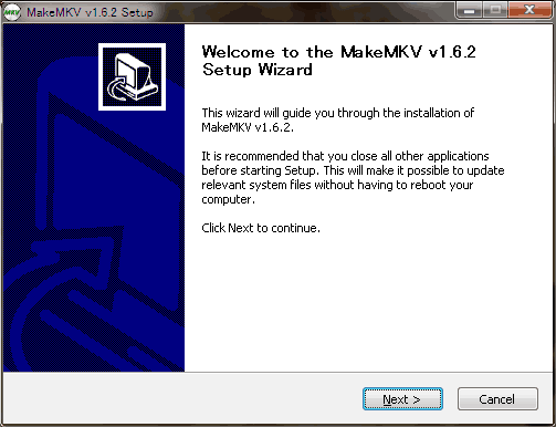 MakeMKVインストール1