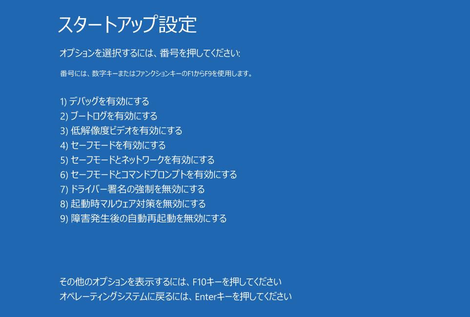 起動オプション画面