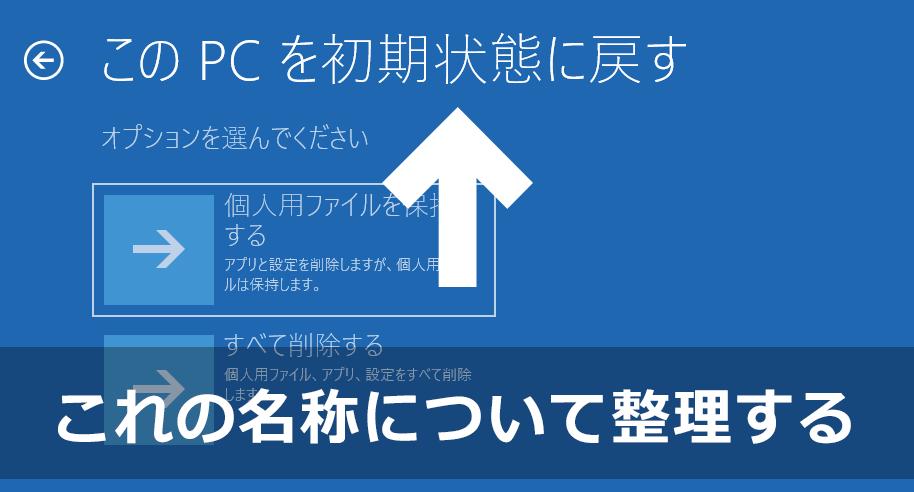 「このPCを初期状態に戻す」「PCのリセット」「PCのリフレッシュ」などの名称について