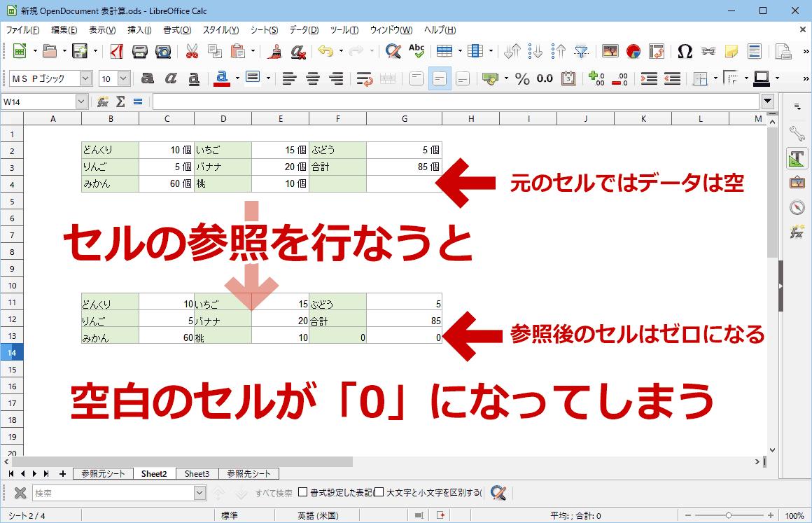 LibreOffice Calcで参照セルのゼロを空白にする