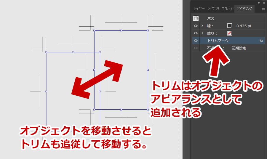 「効果」>「トリムマーク」はオブジェクトの「効果」としてトリムマークが付けたされる。
