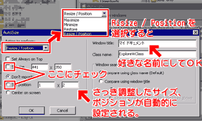 AutoSizerの使い方、ウインドウサイズ指定