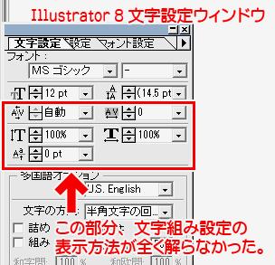 イラストレータ8の文字組み