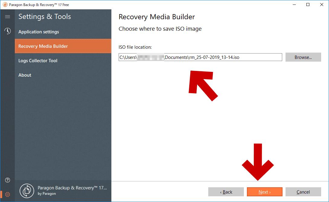 ISO ファイルを選んだ場合