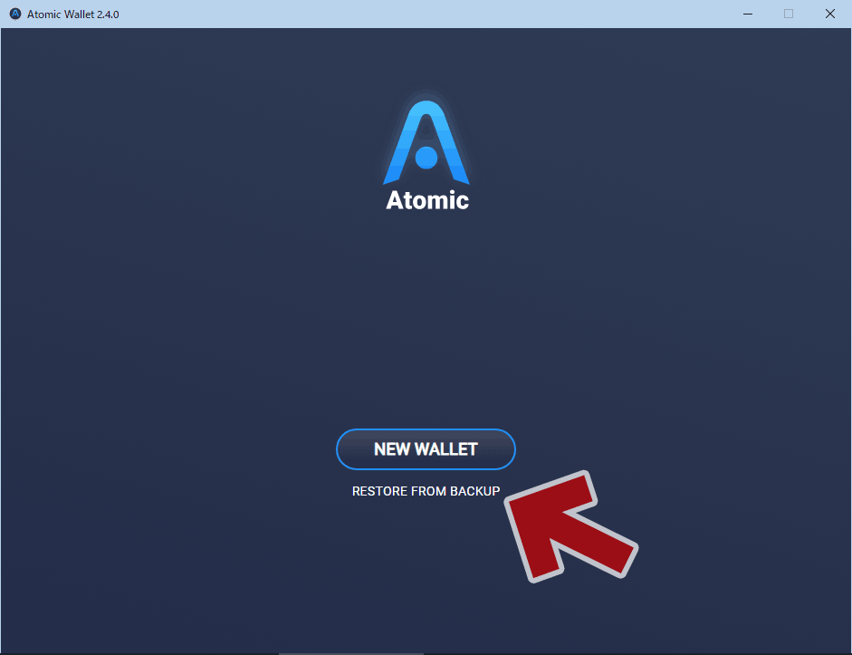 Atomic Wallet 起動画面