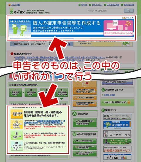 e-Tax による申告リンク