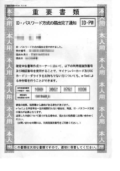 税務署発行の ID (利用者識別番号) とパスワード
