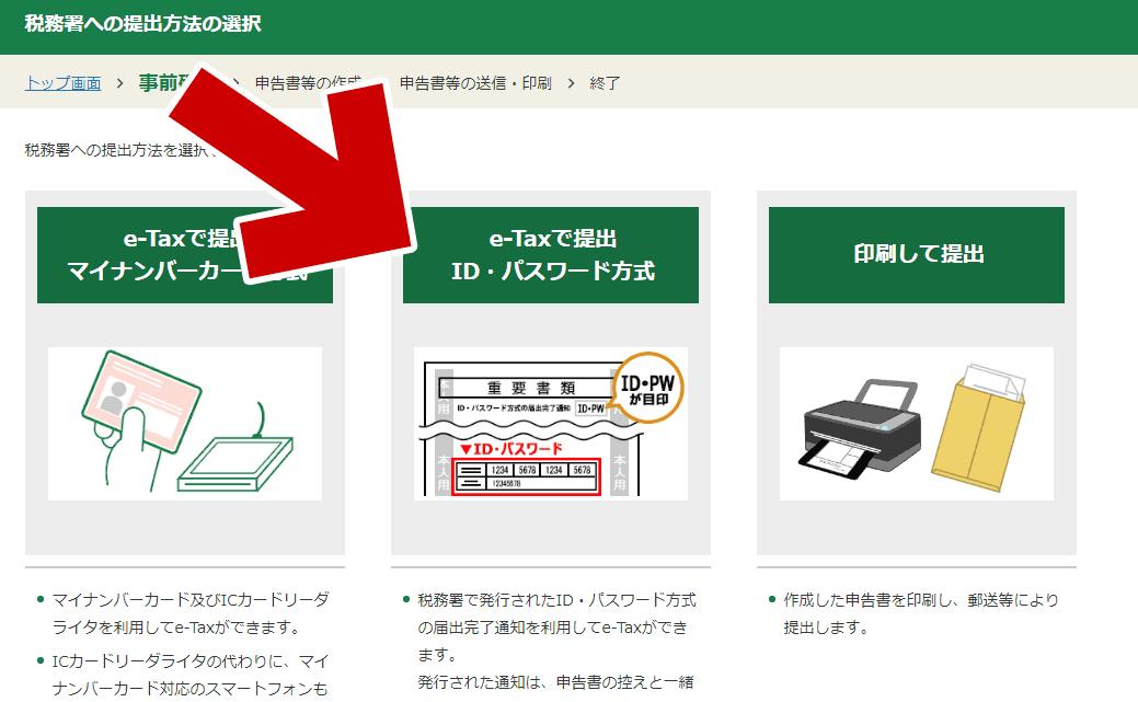 「e-Taxで提出/ID・パスワード方式」を選んだ場合