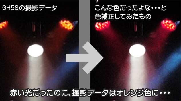 GH5Sで赤い光を撮影すると低彩度かつオレンジ系に転んでしまう