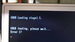 GRUB loading Error 17 でブータブルUSB起動せず