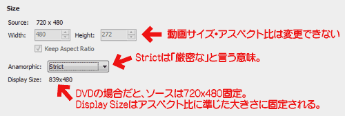 Handbrakeリサイズ:アナモルフィック:Strict(厳密)