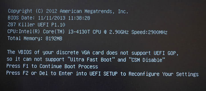 UEFIのエラー画面一例