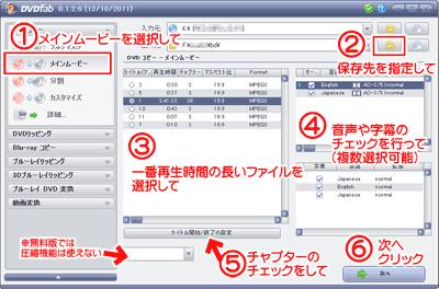 DVDFab HD Decrypterの使い方、具体的手順の解説図