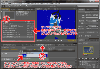 Adobe Encoreのタイムライン作成