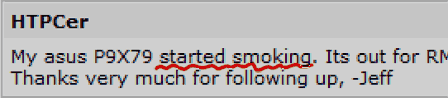 マザーから煙