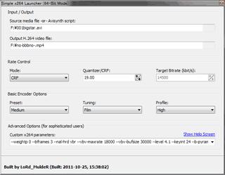 Simple x264 Launcher起動画面
