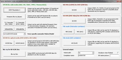 multiAVCHDのオーサリング設定画面