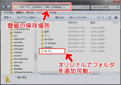 Windows 7/8の壁紙が保存してあるフォルダ
