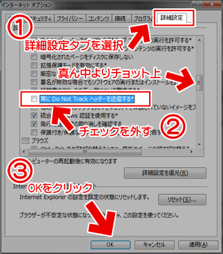 IE10のDo not track を無効にする方法