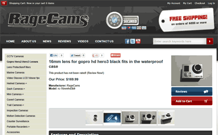 16mm lens for gopro hd hero3 black
