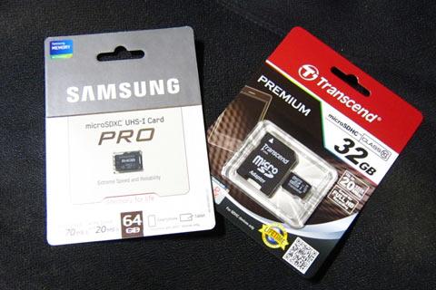 サムスンのmicroSDXC 64GBカード
