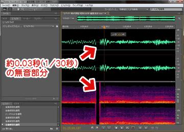 約0.3秒の無音部分