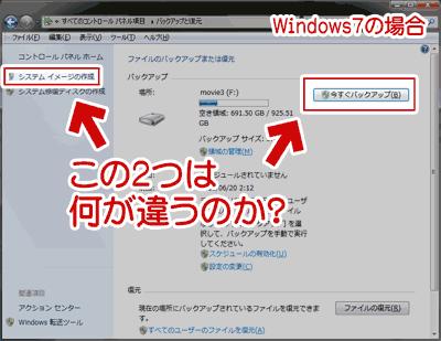 Windows7のシステム イメージから回復