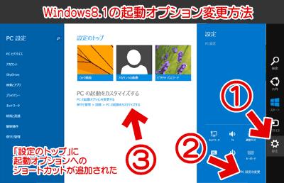 Windows起動オプションの変更