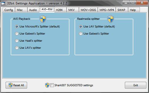 AVI、RMファイルの再生設定