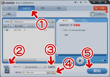 DVDFab HD Decrypterのリッピング機能を使う場合