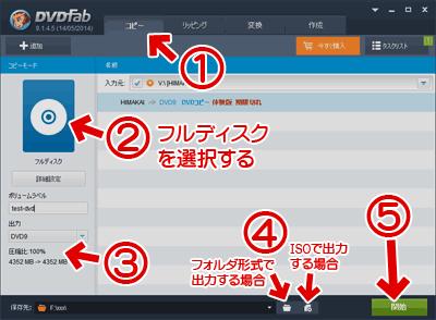 DVDFab 9の「コピー」「フルディスク」使い方解説画像