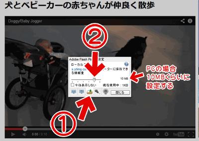 再生中の動画上で右クリックして、「設定」を選択