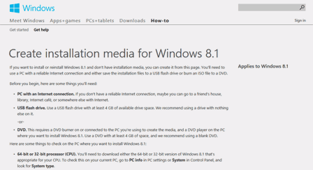 Create installation media for Windows 8.1