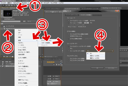 Adobe Premiere Pro CS5の通常のインターレスの指定方法