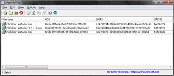 手元のファイルのMD5値画像