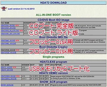hdat2のダウンロードページ