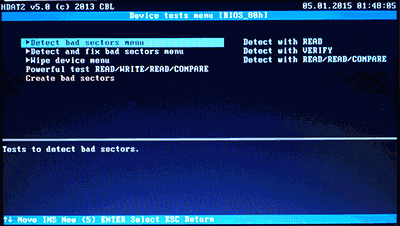 Detect bad sectors menu
