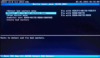 Detect and fix bad sectors menu